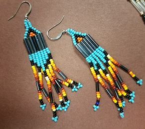 Turquoise and gold dangle earrings