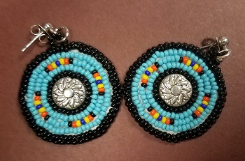 Turquoise and black circle earrings