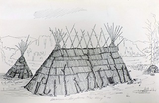 Wamapum Longhouse pen and ink print